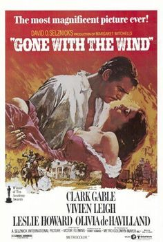 Art Poster: Vintage Gone With The Wind Movie Poster Clark Gable Vivian Leigh Print 36X24Inch