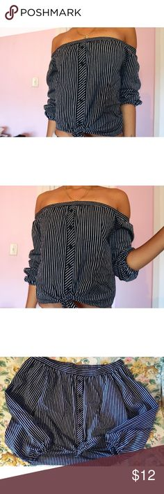 Off shoulder shirt Never worn  Navy blue and white stripes 2 Cute Tops
