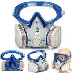 US Breathing Chemical Gas Protection Double Filter Full Face Respirator Mask for sale online