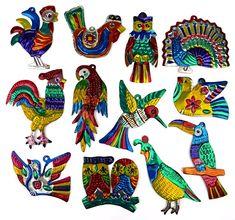 Craft: Hojalata (Mexican Tin Folk Art) — Fun and Educational Activities for Kids Bird Ornaments, Christmas Ornaments, Christmas Tree, Xmas, Vintage Christmas, Mobiles, Mexican Christmas, Bee Embroidery, Tin Art
