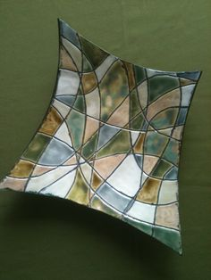 Stained Glass Inspired Porcelain Shallow Bowl by JillyBeanPottery