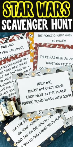 May the force be with you as you go on this Star Wars scavenger hunt! The clues use popular Star Wars quotes making it perfect for any Star Wars fan! Star Wars Mädchen, Star Wars Kids, Star Wars Party Games, Star Wars Birthday Games, Star Wars Party Favors, Star Wars Classroom, Scavenger Hunt Birthday, Star Wars Crafts, Printable Star
