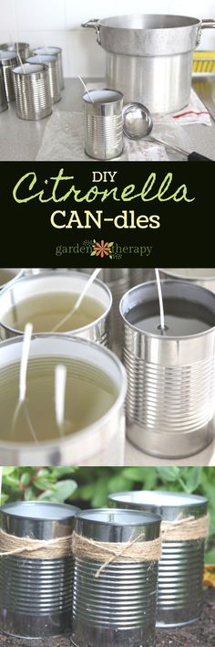 The best DIY projects & DIY ideas and tutorials: sewing, paper craft, DIY. Best Diy Crafts Ideas For Your Home How to Make Citronella Candles -Read Diy Cadeau, Citronella Candles, Citronella Oil, Scented Candles, Jar Candles, Diy Cans, Candlemaking, Homemade Candles, How To Make Diy