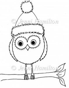 Cute Christmas Owl Digital Stamp