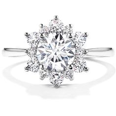 Delight Lady Di Diamond Engagement Ring ($2,700) ❤ liked on Polyvore featuring jewelry, rings, heart ring, heart shaped diamond ring, diamond engagement wedding rings, diamond engagement rings and heart engagement rings