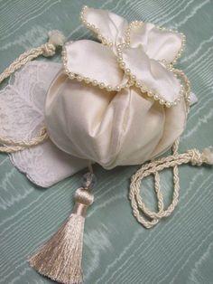 1914 Reproduction Tulip Petal Wedding Reticule - Purses - Roses And Teacups  - 1