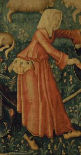 Detail from Le Main Chaude,   Flanders, Belgium 1500-1515 (made) (V&A, http://collections.vam.ac.uk/item/O125598/la-main-chaude-tapestry-unknown/)  Toolbelt