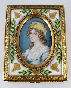 Antique Miniature Ivory Portrait Painting Gilt Bronze Jewelry Box Artist Signed on ruby lane