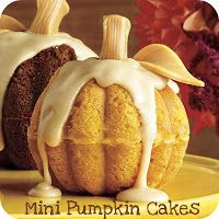 Mini Pumpkin Cakesfrom: Southern Living Delicious pumpkin flavor and pumpkin pie spices make this treat a yummy way to celebrate the season. With only 30 minutes of hands-on time it's doable for a special dinner party or just a fun treat for the kids. Hands-On Time: 30 min.; Total Time: 1 hr., 44 min. (including …
