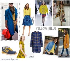 Wear it now: yellow and blue. mustard and cobalt. moodboard burberry, toast, boden, zara, marni