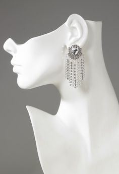 Muti rhinestone chain drop earring with crystal top  features:•Chain drop with crystal top•Hypo allergenic posts•Lead and nickel free ( for the  bridal bliss in this romantically sweet bridesmaid dress)