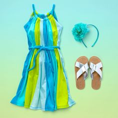 Girls' fashion | Girls' clothes | Striped dress | Flower headband | Sandals | The Children's Place