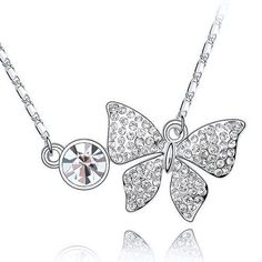 Fancy 18k White Gold Plated Clear Swarovski Austrian Crystal Elements Elegant Butterfly Charm Pendant Necklace with Free 16 Inch Chain Crystal Jewelry by Starjay Austrian Crystal Necklace, http://www.amazon.com/dp/B007S1UXAQ/ref=cm_sw_r_pi_dp_262Fpb1YQ2C61