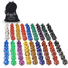 Skull Splitter Dice- One Pound Bag- 126 Polyhedral RPG Dice- 18 Complete Sets- Velvet Pouch Included Tabletop Rpg, Tabletop Games, 20 Sided Dice, Advanced Dungeons And Dragons, Pathfinder Rpg, Things To Buy, Stuff To Buy, Dice Games, Game Design