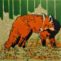 Fox spray paint stencil painting by mattkuhlman on Etsy, $55.00