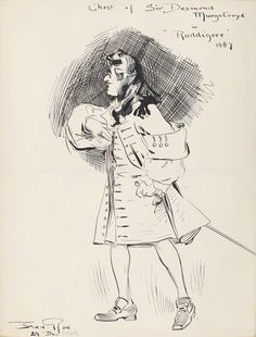 """Unidentified chorister as Sir Desmond Murgatroyd (Act Two) in the original DOC production of """"Ruddigore"""" at the Savoy Theater in 1887; pen and ink drawing by Fred Roe; signed and dated 1908 (""""1908"""" date possibly added at a different time than the signature?). From the National Portrait Gallery; estate of painter Fred Roe."""