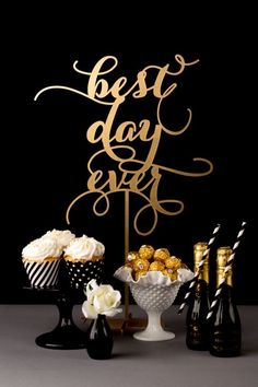 Best Day Ever gold wedding dessert table sign by BetterOffWed on Etsy Gatsby Party, Gatsby Wedding, Party Decoration, Wedding Decorations, Table Decorations, Wedding Guest Book, Wedding Table, Wedding Ideas, Guest Book Table