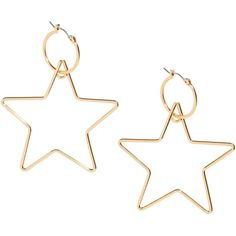 Star-shaped hoop earrings (10 CAD) ❤ liked on Polyvore featuring jewelry, earrings, star jewelry, metal jewelry, star pendant, star earrings and metal pendant