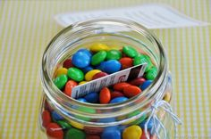 M&M gift card jar