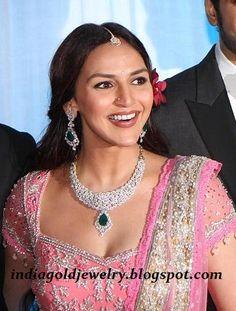 Esha Deol with Diamond Necklace