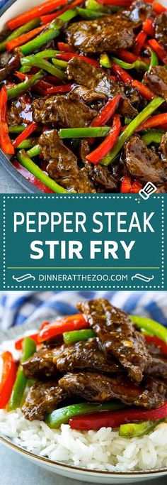 Pepper Steak Stir Fry - Dinner at the Zoo - The Best Easy Chinese Recipes Pepper Steak Stir Fry, Chinese Pepper Steak, Pepper Steak Recipe Easy, Pepper Steak Sauce, Oriental Stir Fry Recipe, Stir Fry Flank Steak, Pepper Steak And Onions, Stir Fry Peppers, Salads