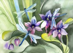 Dragonflies and water hyacinth watercolor