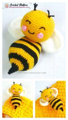 Crochet Bee, Crochet Patterns Amigurumi, Cute Crochet, Crochet Flowers, Crochet Toys, Bee Free, Step By Step Crochet, Cute Bee, Crochet Projects