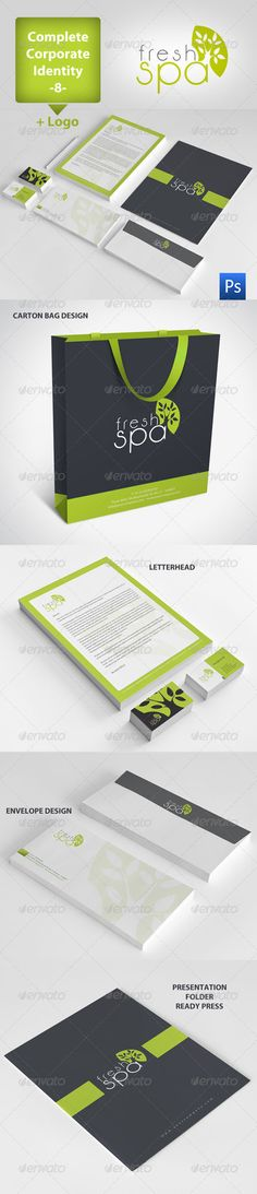 Buy Fresh Spa Corporate Identity Package 8 by Bymavi on GraphicRiver. Fresh Spa Corporate Identity Package 8 Logo Business Cad Letterhead Envelope Presentation Folder Bagg Photoshop Ve. Brand Packaging, Packaging Design, Branding Design, Logo Design, Logo Branding, Graphic Design, Spa Design, Salon Design, Creative Design