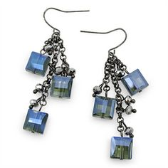 Multi Square Crystals & Chain Drop Earrings [EJH7193BLE]  Wholesale24x7.com - Fashion Scarves and Accessories Wholesale, One Stop Wholesale Shopping for Scarves, Jewelry and Fashion Accessories!