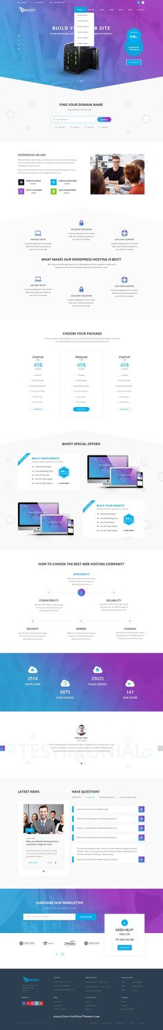 Bhost is clean and modern design PSD template for web #hosting company website with 5 homepage layouts and 18+ layered PSD pages to live preview & download click on Visit  #webdevelopment