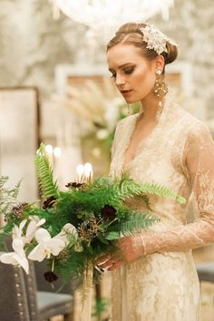 An Eclectic Glamour Bridal Shoot With an Exotic Botanical & Literary Vintage Vibe Stylist: The Stars Inside / Assistant: Cleectic Love / Photographer: Kate Nielen Photography / Stationery: Ollie's Studio / Ribbon: Kate Cullen / Hair And Make-up: Clare Pinkney / Floristry: The Green And Envy / Bridalwear And Accessories: The State Of Grace / Cake & Desserts: The Enchanting Cake Company / Decor And Tablescape: The Essex Occasion Company & The Stars Inside / Model: Alexa Waters / Venue: The…
