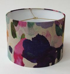 Linen Watercolor Print Drum Lamp Shade 12 by LampShadeDesigns