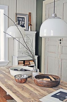 Lunda Gard / Aja and Christian Lund {gray and white eclectic rustic vintage modern dining room} by recent settlers, via Flickr