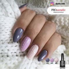 Paznokcie sweterki hybrydowe - zdobienie paznokci - paznokcie hybrydowe sweterkowe kolory PROnail 401 545 556