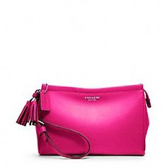 This is basically perfect: Coach Legacy Leather Large Wristlet in Pink!
