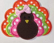 Thanksgiving Turkey Iron On Applique  NEW Color Styles Now Available