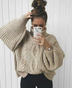e58020ac0a  MintRockCo Oversized Beige Sweater Outfits Fall Winter Casual Chic Style.   fall  winter