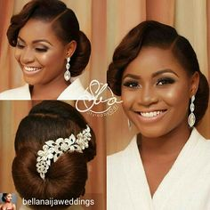 She is so flawless mua styledbyodi accessories by + Hairdo Wedding, Bridal Hair Updo, Bridal Hair And Makeup, Hair Makeup, Black Bridal Makeup, Black Brides Hairstyles, Bride Hairstyles, Vintage Hairstyles, Natural Wedding Hairstyles