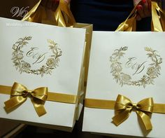 100 Wedding Logo gift bags with Gold satin ribbon bow and