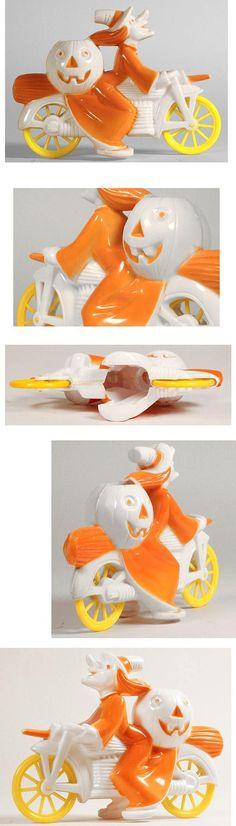 c.1952 Tico Toys/Rosbro, Orange Halloween Witch on White Motorcycle