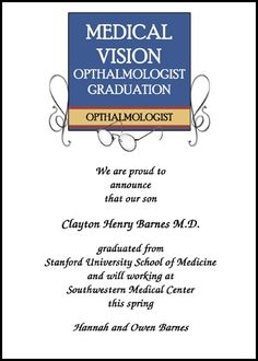 customize your ophthalmologist graduation announcements for commencement and ophthalmology graduating ceremony invitation cards and then preview it in real time at GraduationCardsShop, such as card 7590GCS-LM as low as .79 cents