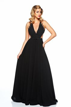 """Ana Radu black occasional dress from veil fabric with v-neckline, veil, inside lining, """"V"""" cleavage, sleeveless, back zipper fastening, accessorized with tied waistband"""