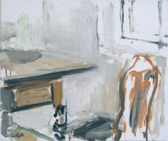 Eilif Amundsen Chair, Table, Window, oil on canvas Art Archive, Painting Inspiration, New Art, Art Boards, Still Life, Photo Art, Oil On Canvas, Illustration Art, Abstract