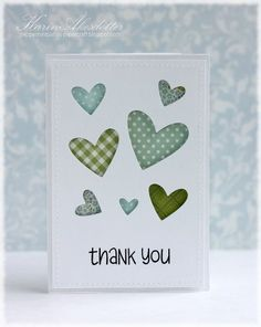 Highlight the negative space behind these heart punches with a variety of paper scraps.  Stitch or faux stitch the top panel, or pop it with foam. Handmade thank you card.