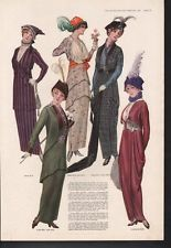 1914 WOMAN PATTERN COAT SKIRT DRESS FEATHER FASHION AD AD