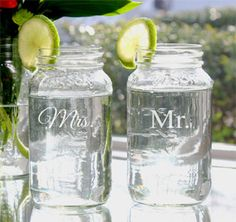 Mr. & Mrs. Mason Jar Set #theweddingoutlet