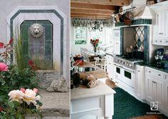 Cape Cod blue kitchen on the ocean.  maraya interior design