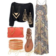 Maxi dress. Shrug. Summer outfit. Fashion for women over 40.
