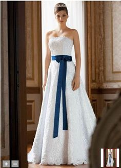 Davids Bridal Allover beaded corded lace A-line gown. (Style CT2406) with a marine colored sash. <3 Perfect for the colors I want!