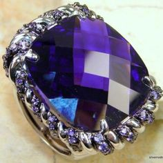 Lovely purple ring, so regal. 925 STAMPED STERLING SILVER ALEXANDRITE QUARTZ PURPLE RECTANGLE SIZE 8 RING was 399.15 now $128.95
